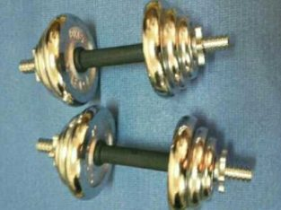 Chrome metal dumbbels silver color