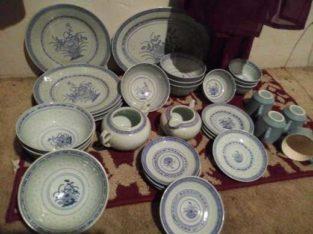 4 piece blue and white Chinese China set