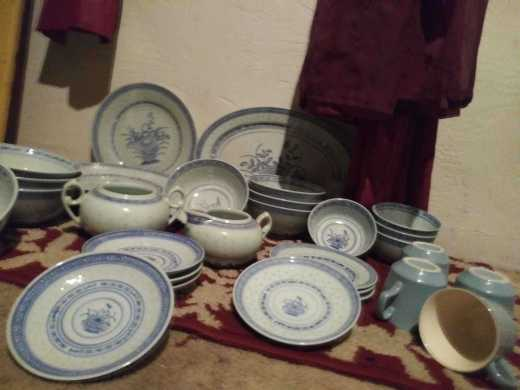4 piece blue and white Chinese China set
