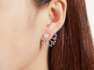 Open Lotus Flower Stud Earrings