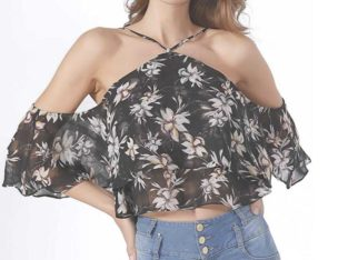 Chiffon Off Shoulder Ruffle Top