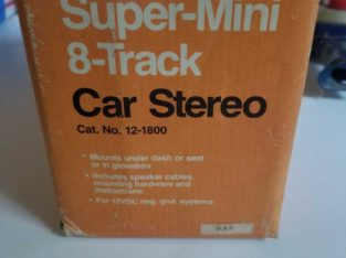 realistic super mini 8 track car stereo under dash vintage new in box never used.