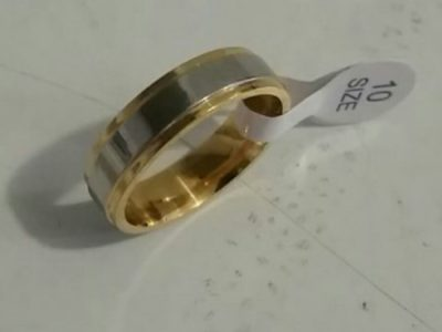 Mens 18K Gold Plated and Stainless Steel Ring
