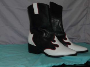 PORTUGAL BOOTS – BRAND NEW- BLACK, WHITE & RED TRIM