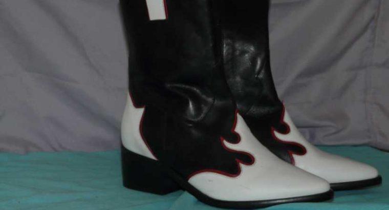 PORTUGAL BOOTS – BRAND NEW- BLACK, WHITE & RED TRIM