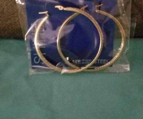 2″ GOLD & RHINESTONES HOOP EARRINGS
