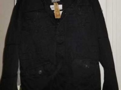 BLACK BRANIDIT ZIP UP AND BUTTON COAT