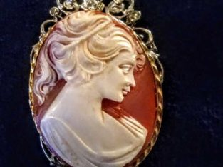 Vintage Gold Gilt Cameo Brooch