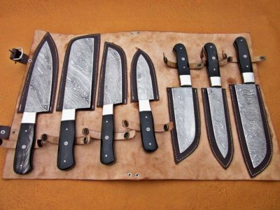 Handemade damascus chef set