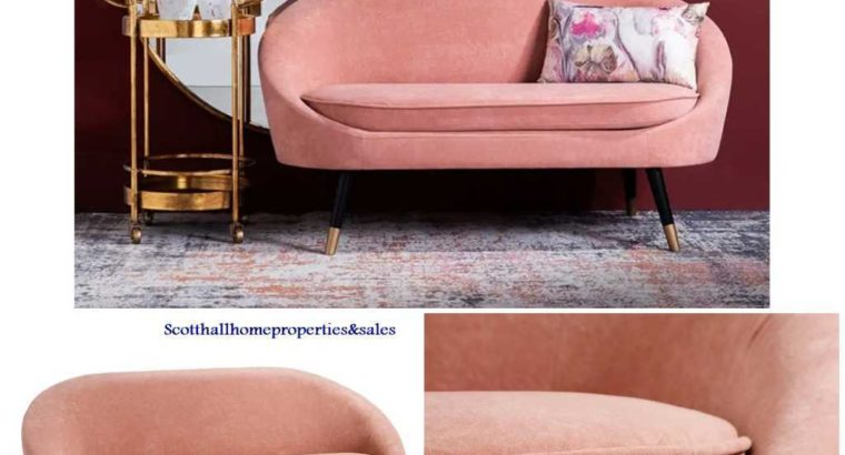 Modern Home Furniture Pink Fabric Velvet Couch Love Seat Leisure Sofa For Living Room-Hotel-Office-Event