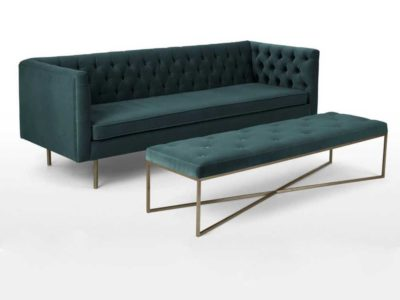 Modern Couch Living Room Furniture Green Velvet Sofa with Bench