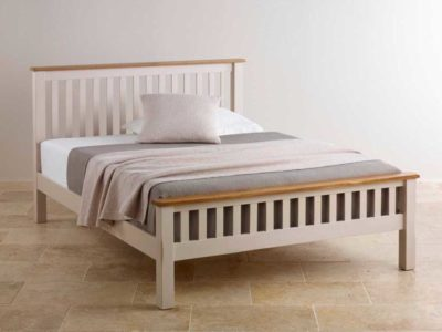Rustic White Painted Oak Solid Wood Single Double King Queen Size Bed