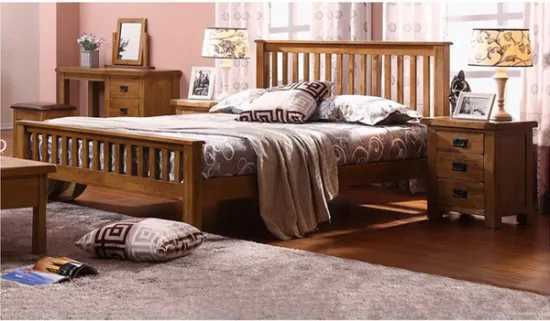 Solid Oak Wood Single Double King Queen Size Bed plus other functional part e.g Side Bed Drawer,… Standing mirror etc