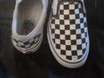 Black and white checkered Vans size 5.5