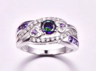 Fashion Women Wedding Jewelry Oval Heart Design Multicolor & Purple White CZ Silver 925 Ring