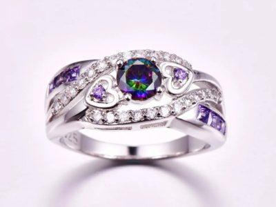 Fashion Women Wedding Jewelry Oval Heart Design Multicolor & Purple White CZ Silver 925 Ring