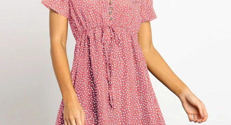 Multicolor Gaganight Women Pleated Long Dress V Neck Drawstring Puff Sleeve Slim Elegant Lady Summer