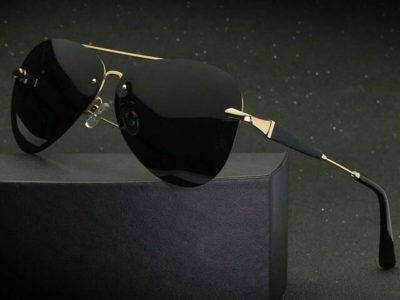 2019 high quality Frameless Polarized Sunglasses Men uv400 Brand Designer Oculos De Sol Driving Fish