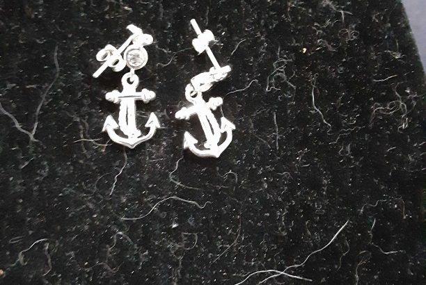Sterling Silver Anchor Earrings