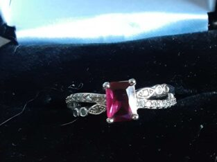 Pink Cz Solitaire Ring