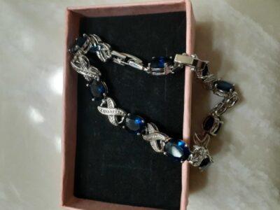 Blue and Clear Cz Bracelet