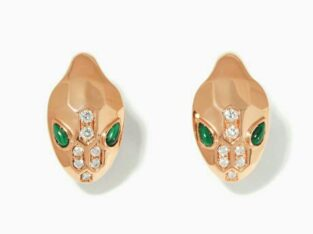 75% discount BVLGARI Rose,Malachite & Diamond Pavé Serpenti Earrings