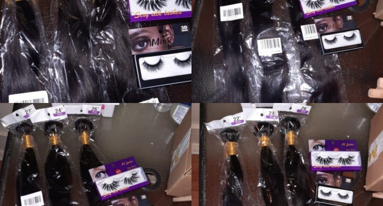 3 bundles of natural hair and 2 lashes
