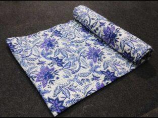 Indian handmade handblock printed Kantha Quilt indian bedsheet