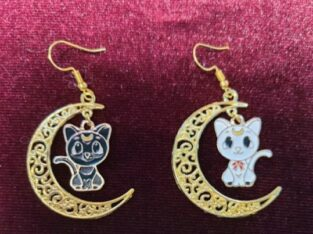 Sailor moon earrings luna Artemis moon mom fashion cat lover cats