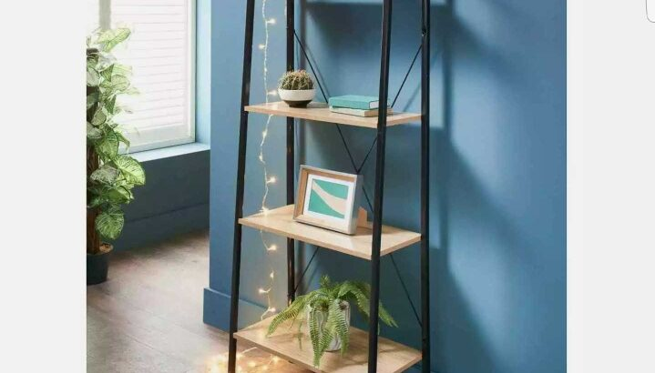 Michigan Ladder Shelving Unit 4 Tier Display Stand Book Shelf Wall Rack Storage