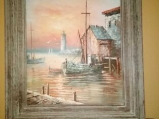 Nautical oil canvas painting by Max Savy
