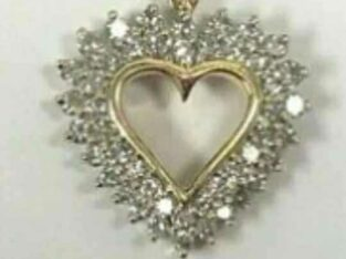 14kt yellow gold diamond heart necklace