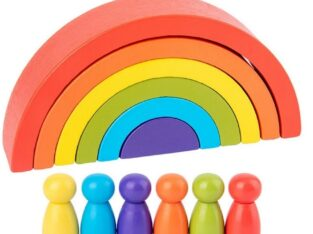 Wooden Rainbow Blocks for Kids
