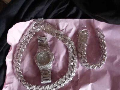 Sterling silver diamond bra set anklet necklace earrings