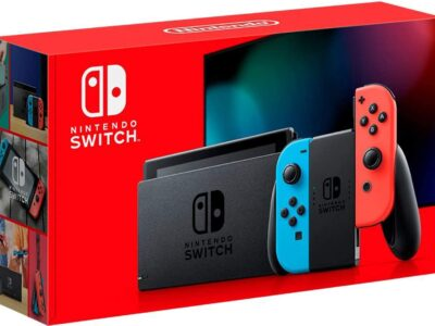 Nintendo Switch with Neon Blue and Neon Red Joy