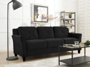 Lifestyle Solutions Taryn Curved Arm Fabric Sofa,