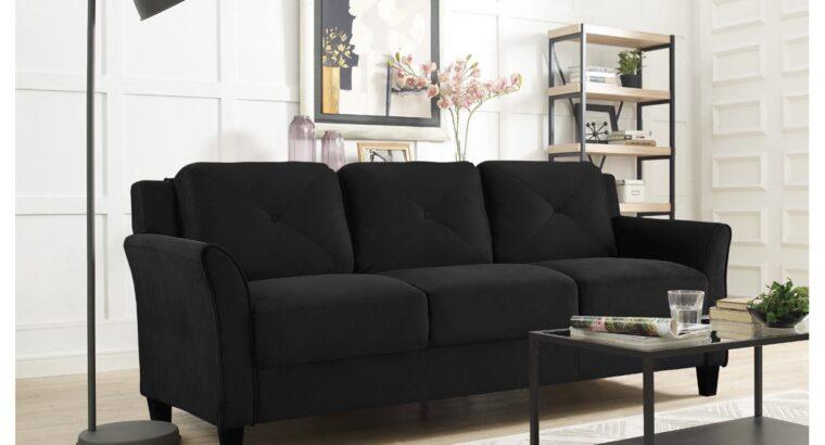 Lifestyle Solutions Taryn Curved Arm Fabric Sofa,