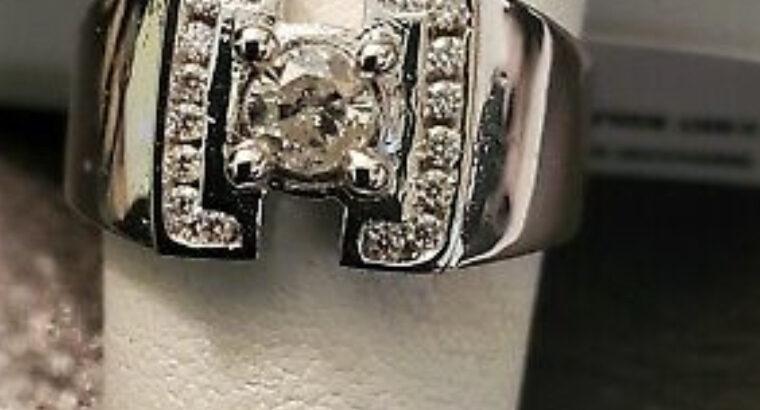 1/2 CT GENUINE DIAMOND 14KT SOLID WHITE GOLD MENS