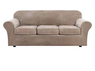 Modern Velvet Plush 4 Piece High Stretch Sofa Slip
