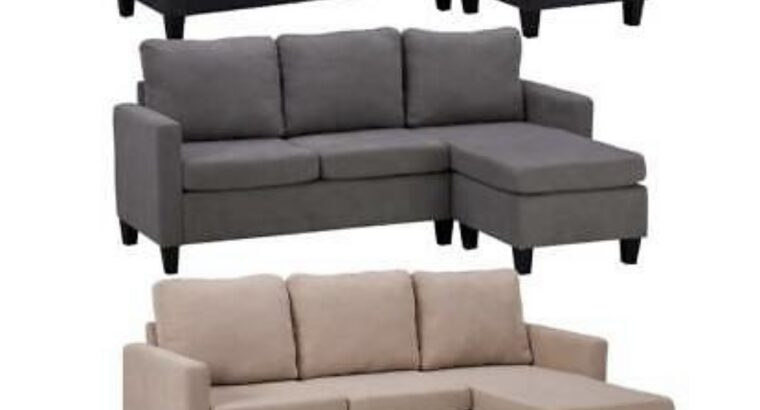 3 Colors Linen Fabric Sectional Double Chaise Long