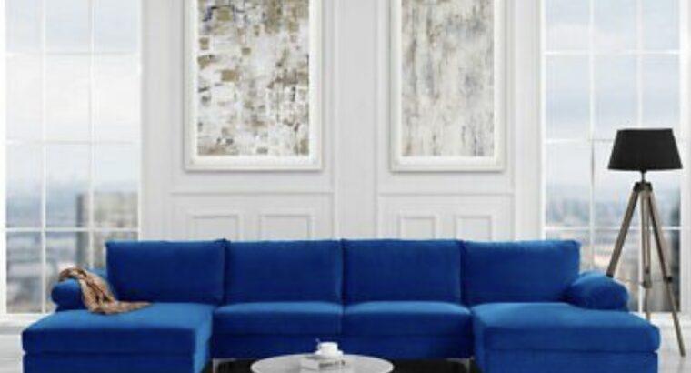 Modern U Shape Sectional Sofa Double Chaise Lounge