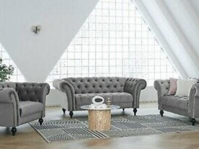 Velvet Fabric Sofa Chesterfield Style Modern Couch