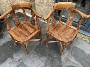 Pair of corner chairs / solid hardwood carved chai