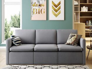 Convertible Sectional Sofa Couch, Modern Linen Fab