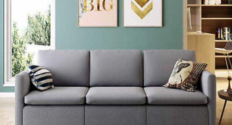 Convertible Sectional Sofa Couch, Modern Linen Fab