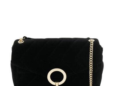flap shoulder bag Black calf leather flap shoulder