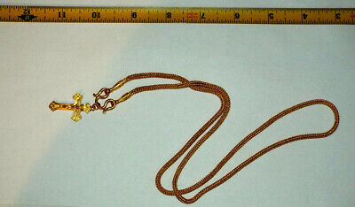 24K PURE GOLD BRADE NECKLASS WITH CROSS