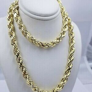 Real Gold 10k Rope Necklace Mens Chain 8mm 18″-30″