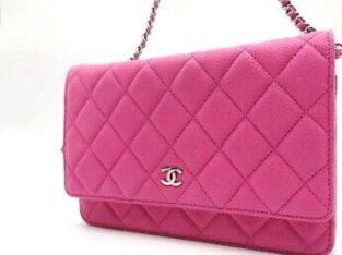 Auth Chanel cc matelasse chain wallet shoulder bag