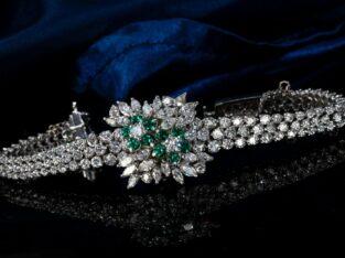 Piaget 1960s Platinum Marquise Diamond Emerald Flo